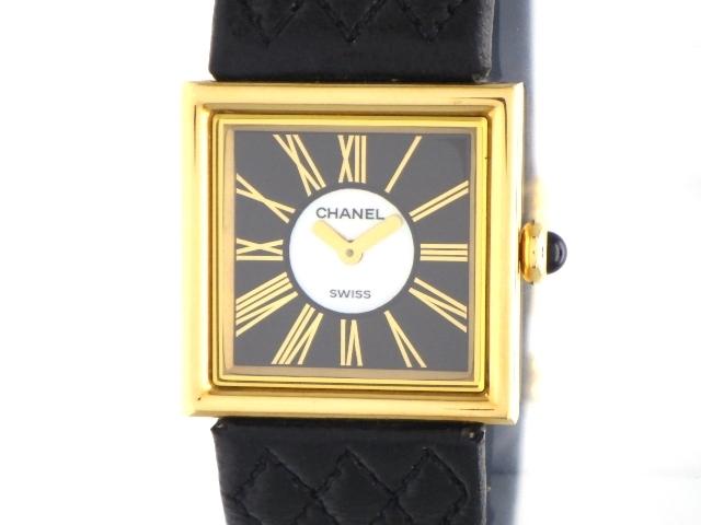 【送料無料】CHANEL シャネル マドモアゼル 女性用腕時計 クオーツ K18YG イエローゴールド 革ベルト ブラック H0101 【474】【中古】【大黒屋】