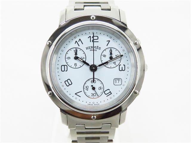 [送料無料]HERMES エルメス 時計 クリッパークロノ CL1.910 ステンレス クオーツ メンズ 【430】【中古】【大黒屋】