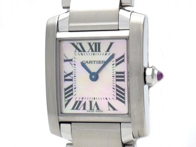 【送料無料】Cartier カルティエ 時計 タンクフランセーズSM W51028Q3 レディース クォーツ ステンレス ピンクシェルローマ 【471】【中古】【大黒屋】