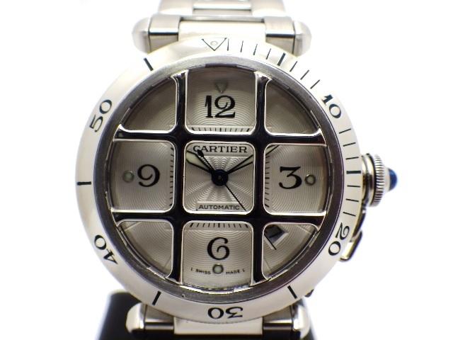 【送料無料】Cartier カルティエ W31040H3 時計 パシャ グリット オートマチック シルバー文字盤【411】【中古】【大黒屋】