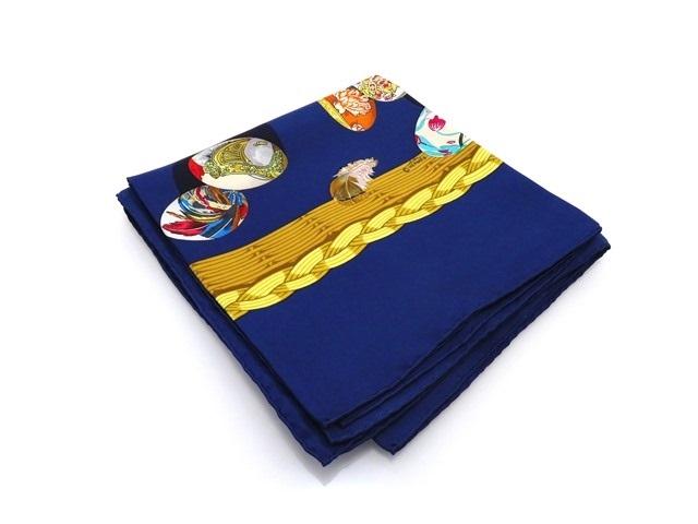HERMES エルメス カレ90 スカーフ  Couvee d'Hermes エルメスの卵 シルク ネイビー/ゴールド/マルチカラー【434】【中古】【大黒屋】