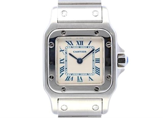 【送料無料】Cartier カルティエ 時計 サントスガルベ  W20017D6 ステンレススチール ホワイト文字盤 クォーツ 62.7g 【205】【中古】【大黒屋】