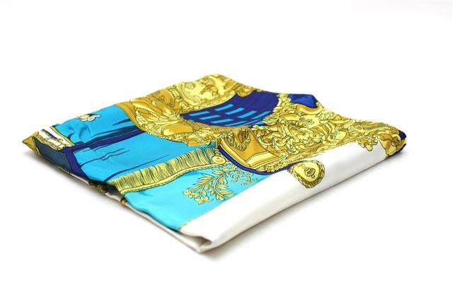 HERMES エルメス シルク スカーフ カレ90 ネイビー/イエロー/ホワイト 【412】【中古】【大黒屋】