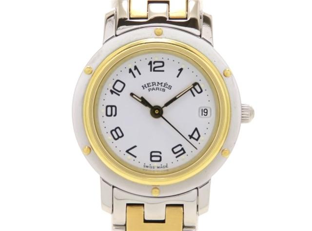【送料無料】HERMES エルメス 時計 クリッパー CL4.220 ステンレススチール ゴールドプレート(ゴールドメッキ) ホワイト文字盤 クォーツ 【205】【中古】【大黒屋】