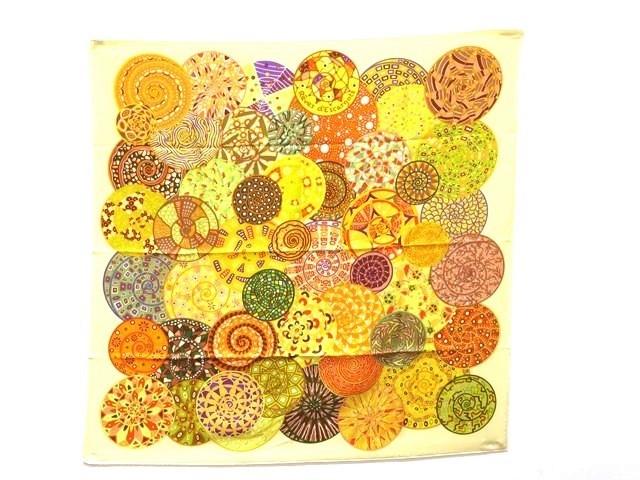 HERMES エルメス 衣料品 スカーフ カレ90 「Reves d' Escargots (カタツムリの夢)」  シルク100% イエロー【473】【中古】【大黒屋】