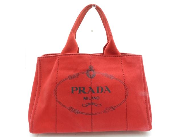 PRADA プラダ カナパ ハンドバッグ BN1877 ROSSO 赤 【450】【中古】【大黒屋】
