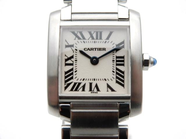 【送料無料】Cartier 時計 タンクフランセーズ W51008Q3 クオーツ SS アイボリー【439】【中古】【大黒屋】