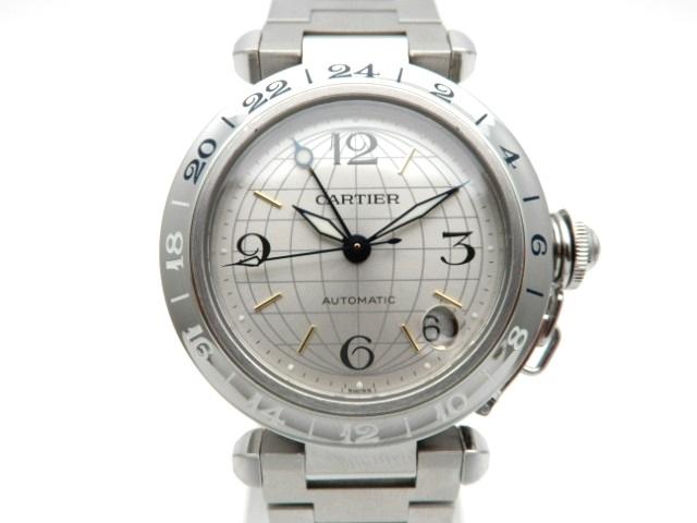Cartier 時計 パシャC メリディアン W31078M7 オートマチック SS シルバー文字盤 GMT【439】【大黒屋】