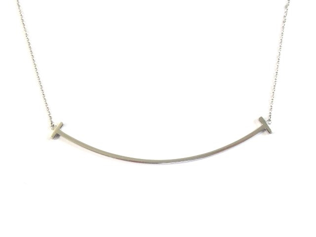 【送料無料】TIFFANY&CO ティファニー  Tスマイルネックレス ネックレス WG ホワイトゴールド 【460】【中古】【大黒屋】