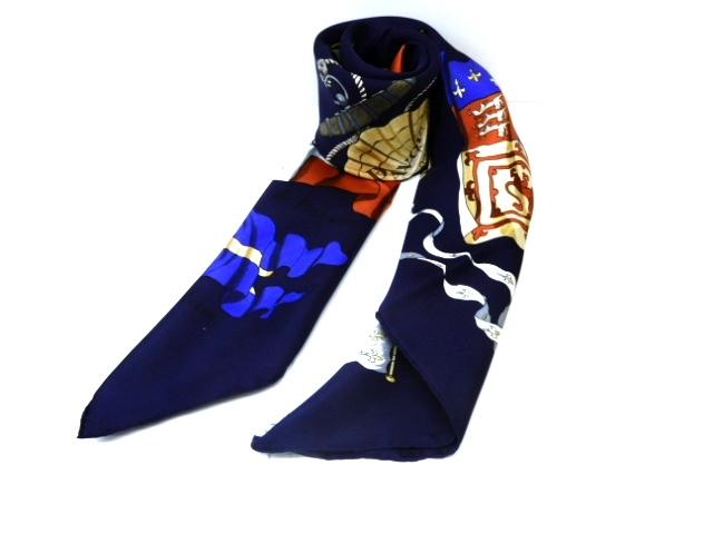 HERMES 衣料品 スカーフ シルク ネイビー【439】【中古】【大黒屋】