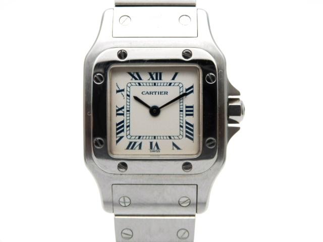 【送料無料】Cartier 時計 サントス ガルベSM クオーツ SS アイボリー文字盤【439】【中古】【大黒屋】