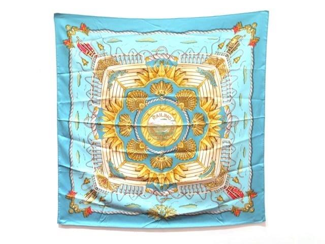 HERMES エルメス 衣料品 スカーフ カレ90 シルク100% ライトブルー 「RAILING(船の手摺)」【473】【中古】【大黒屋】