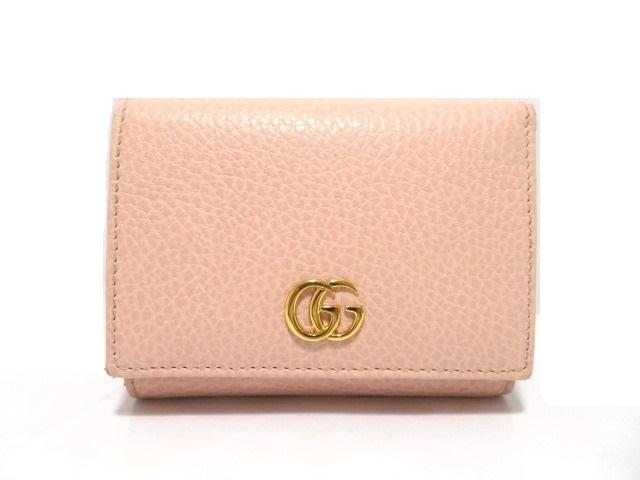 GUCCI グッチ Wホック財布 三つ折り財布 GGマーモント 型押し ピンク 【474】【中古】【大黒屋】