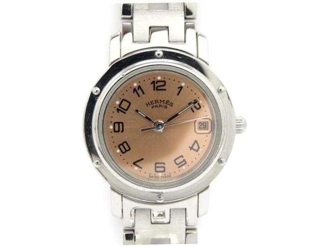 HERMES エルメス 時計 女性用腕時計 クリッパー ステンレス ピンク  CL4.210 【474】【中古】【大黒屋】
