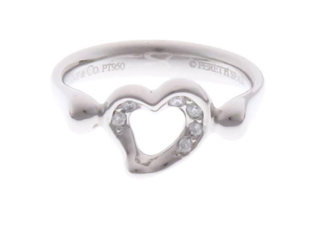 【送料無料】TIFFANY&CO ティファニー リング オープンハートダイヤモンドリング PT950 ダイヤモンド 5.8g #7.5【434】【中古】【大黒屋】