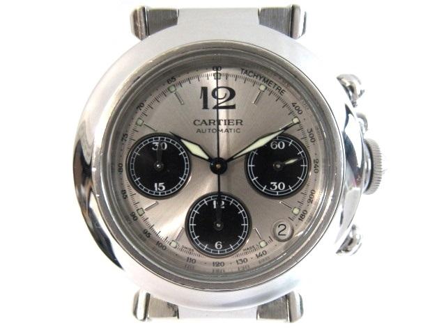 【送料無料】Cartier カルティエ 時計 オートマチック パシャC クロノグラフ SS 130.4g【413】【中古】【大黒屋】