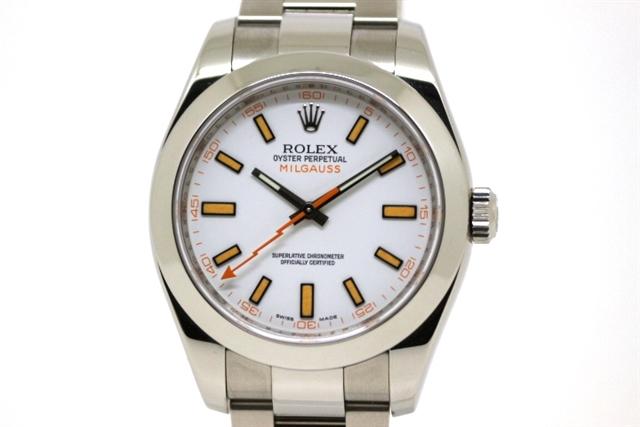 【送料無料】ROLEX ロレックス ミルガウス 116400 ホワイト文字盤 M番 ステンレススチール 自動巻き 【200】【中古】【大黒屋】