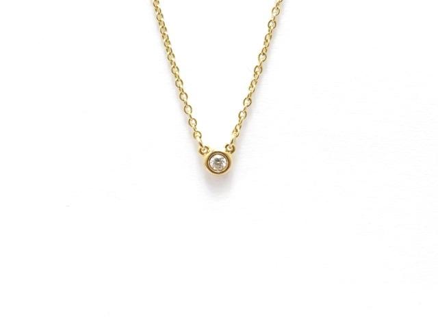 【送料無料】TIFFANY&CO ティファニー バイザヤード ピンクゴールド ダイヤモンド1P ネックレス PG 1PD 2.1g 箱付き 【434】【中古】【大黒屋】