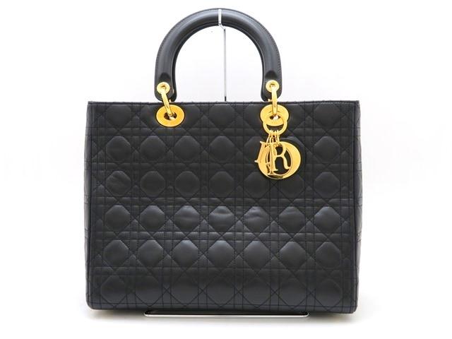 【送料無料】Dior ディオール バッグ ハンドバッグ レディーディオール カナージュ ラムスキン ブラック ゴールド金具【473】【中古】【大黒屋】