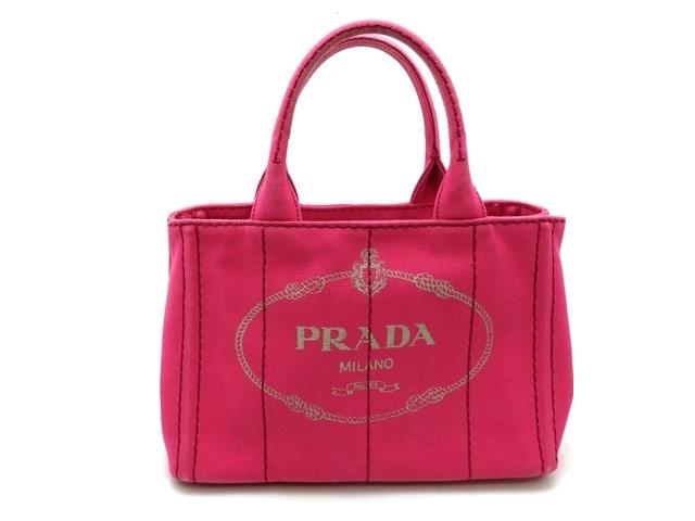 PRADA プラダ カナパ 2WAYショルダーバッグ ハンドバッグ キャンバス ピンク B2439G 【473】【中古】【大黒屋】