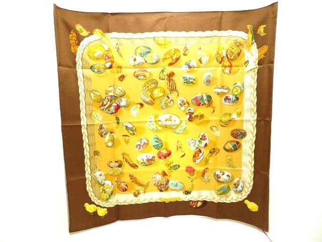 HERMES エルメス 衣料品 大判スカーフ カレ90 Couvee d'Hermes(エルメスの卵) ブラウン イエロー マルチカラー シルク 【205】【中古】【大黒屋】