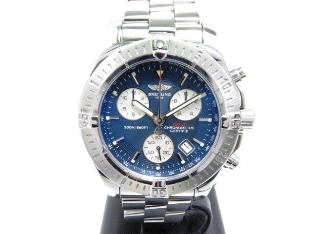 【送料無料】BREITLING 時計 コルトA73380 クオーツ  200m防水 ブルー文字盤 メンズ SS【430】【中古】【大黒屋】