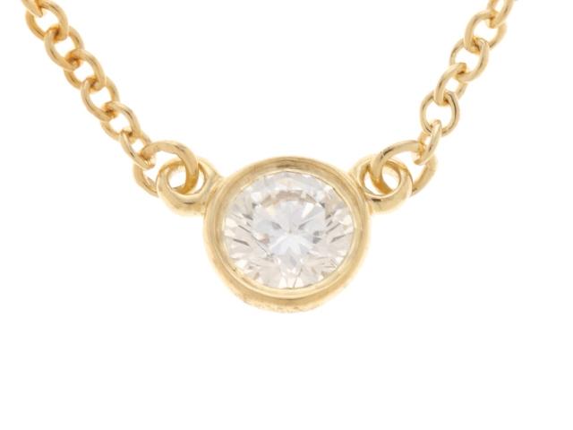【送料無料】TIFFANY&CO ティファニー バイザヤードネックレス K18YG イエローゴールド ダイヤモンド 【450】【中古】【大黒屋】