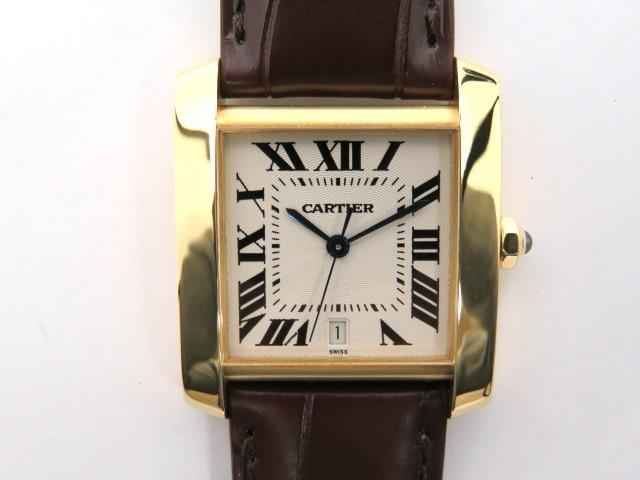 【送料無料】Cartier カルティエ タンクフランセーズLM W5000156 イエローゴールド×革 自動巻き【430】【中古】【大黒屋】