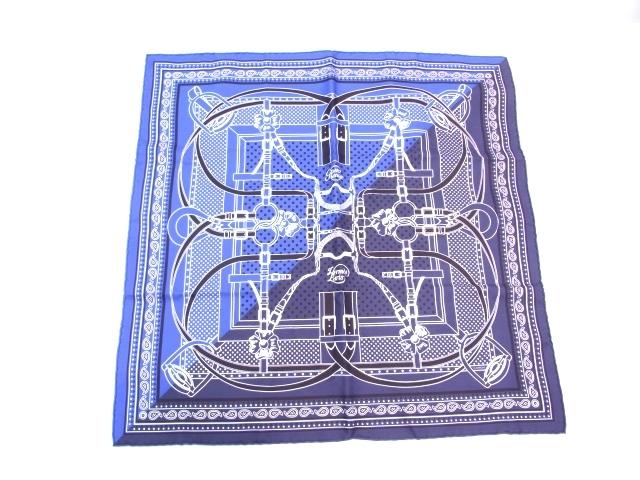 HERMES エルメス 衣料品 スカーフ シルク ブルー/ネイビー 【471】【中古】【大黒屋】