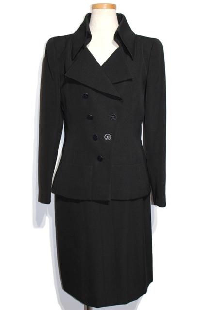 【送料無料】CHANEL シャネル スーツ ジャケット スカート レディース 38/38 ブラック ウール ココマーク P17870V09938 01P【200】【中古】【大黒屋】