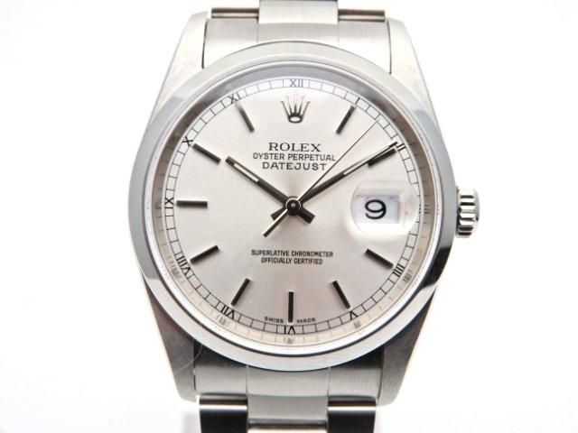 【送料無料】ROLEX 時計 デイトジャスト 16200 オートマチック SS シルバー文字盤【439】【中古】【大黒屋】