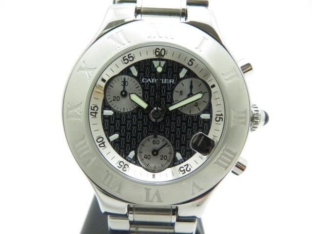 【送料無料】Cartier カルティエ W10172T2 時計 クロノスカフ クオーツ メンズ ブラック文字盤【430】【中古】【大黒屋】