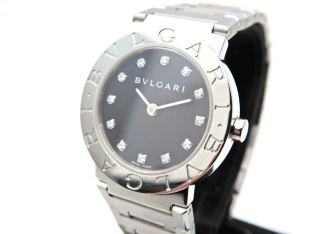 【送料無料】BVLGARI 時計 ブルガリ ブルガリ BB26SS 12Pダイヤ クオーツ SS ブラック文字盤【439】【中古】【大黒屋】
