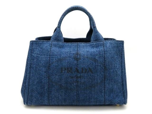 PRADA プラダ バッグ ハンドバッグ カナパ デニム ブルー【473】【中古】【大黒屋】