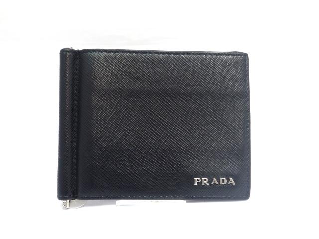 PRADA プラダ 二つ折財布 マネークリップ サフィアーノ ブラック 2MN077【471】【中古】【大黒屋】