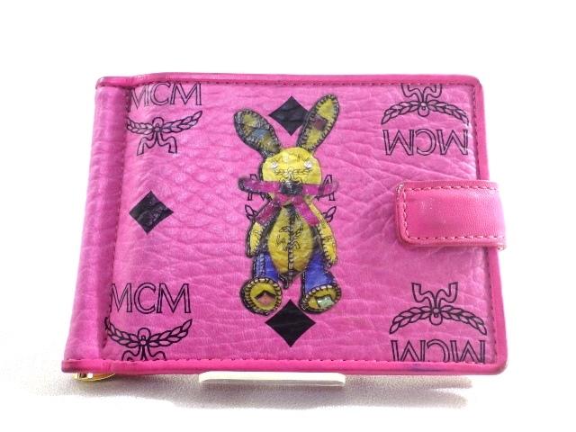 MCM サイフ・小物 ケース カードケース マネークリップ コーティングキャンバス ピンク 【471】【中古】【大黒屋】