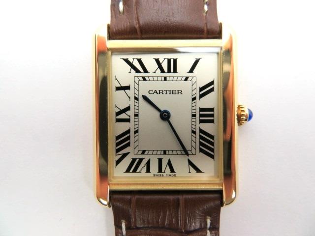 【送料無料】Cartier カルティエ タンク・ソロLM W1018855 メンズ イエローゴールド×革(社外品) クオーツ【430】【中古】【大黒屋】
