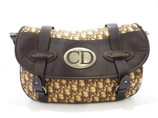 Dior ディオール トロッター ショルダーバッグ キャンバス レザー ブラウン 【430】【中古】【大黒屋】