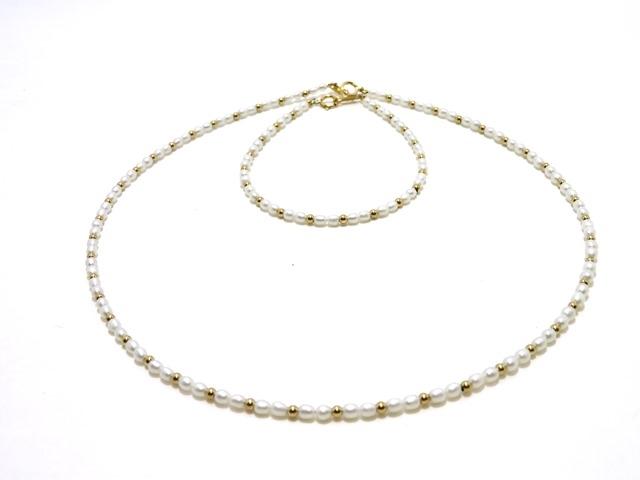 ノンブランドジュエリー ネックレス&ブレスレットセット K18 ベビーパール 真珠:約3mm 【430】【中古】【大黒屋】