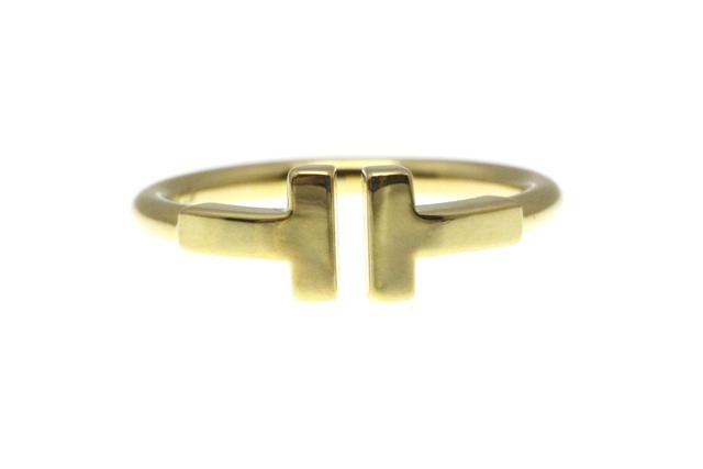 【送料無料】TIFFANY&CO ティファニー リング 指輪 Tワイヤーリング イエローゴールド 9号 3.1g 【430】【中古】【大黒屋】
