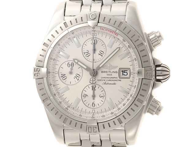 【送料無料】BREITLING 時計 クロノ マットエボリューション A13356 オートマチック SS シルバー文字盤【439】【中古】【大黒屋】