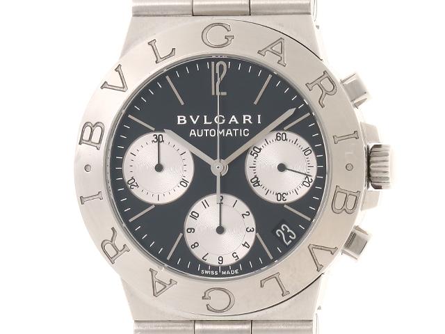 【送料無料】BVLGARI 時計 ディアゴノ スポーツCH35S  自動巻き ブラック文字盤 メンズ ステンレス【430】【中古】【大黒屋】