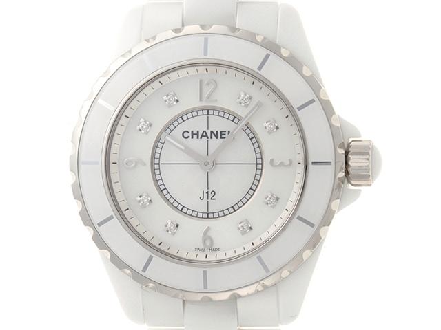 【送料無料】CHANEL シャネル 時計 J12 H3214 クオーツ 電池式 ホワイトシェル 8ポイントダイヤ 【472】【中古】【大黒屋】