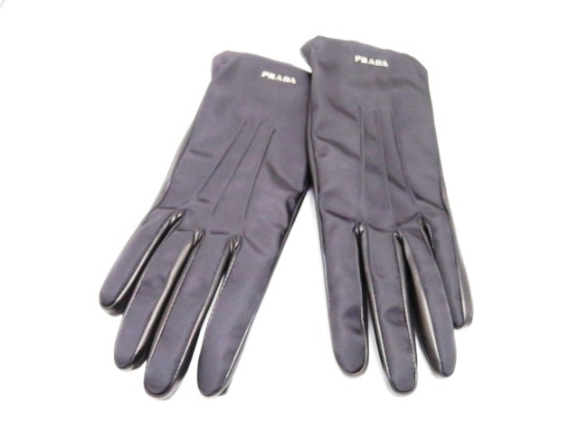 PRADA プラダ 手袋 グローブ サイズ7 ナイロン ラムスキン ブラック 1GG975【200】【中古】【大黒屋】