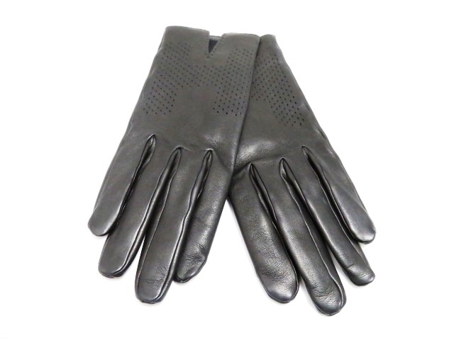 HERMES エルメス 手袋 グローブ サイズ7ハーフ ラムスキン シルク ブラック パンチング 【200】【中古】【大黒屋】