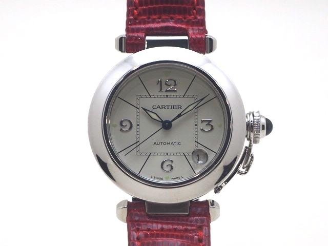 【送料無料】Cartier カルティエ 時計 パシャ W3014556 アイボリー文字盤 WG ホワイトゴールド 革 レザー クロコ 自動巻き【432】【中古】【大黒屋】