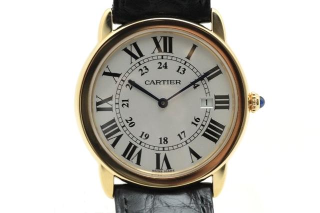 【送料無料】Cartier カルティエ 時計 ロンドソロ YG/革 W6700455 電池式 クオーツ 【472】【中古】【大黒屋】
