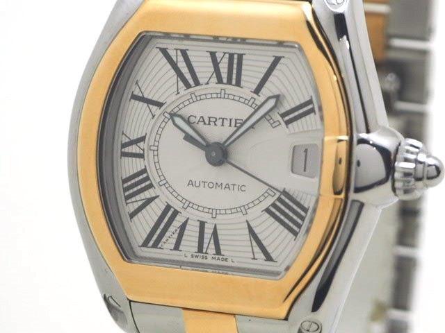 【送料無料】Cartier カルティエ ロードスターLM オートマチック YG SS イエローゴールド ステンレス W62031Y4 【472】【中古】【大黒屋】