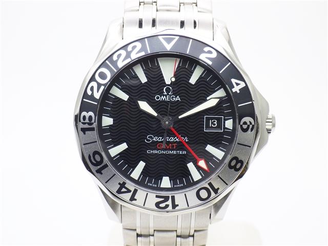 【送料無料】OMEGA オメガ シーマスター GMT 2534.50 ブラック オートマチック 50周年記念モデル ステンレススチール【438】【中古】【大黒屋】