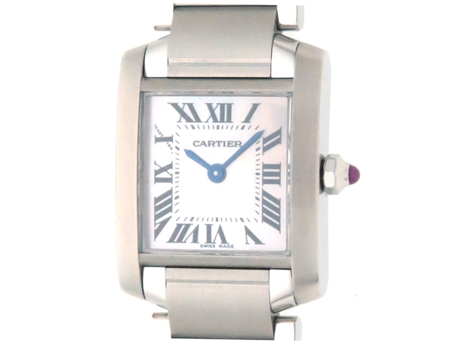 【送料無料】Cartier カルティエ タンクフランセーズSM SS W51028Q3 ピンクシェル文字盤 女性用クオーツ時計【473】【中古】【大黒屋】